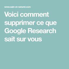Voici comment supprimer ce que Google Research sait sur vous