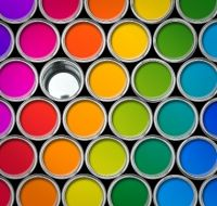 Paint tin color palette, cans opened top view black background Stock Photo Different Types Of Painting, Paint Types, Painted Tin Cans, Paint Cans, Image Painting, Professional Painters, Over The Rainbow, Cool Paintings, Paint Finishes