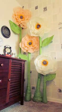 Giant Tissue roses. Wonderland Nursery. I used this awesome tutorial.