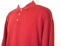 Tommy Bahama Mens Red Long Sleeved Ribbed Polo Shirt Size XL EUC #TommyBahama #PoloRugby