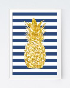 Gold Pineapple with Navy Stripes Background, Blue and Gold Art,  Mustard and Blue Gold Pineapple, Gold and Navy Beach Art, INSTANT DOWNLOAD by SutilDesigns on Etsy https://www.etsy.com/ca/listing/245626978/gold-pineapple-with-navy-stripes