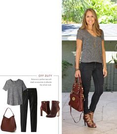 Black, grey, burgundy combination! I love mixing neutrals and this inspiration outfit is  downright amazing. The shoes and purse I'm wearing are the only burgundy  accessories I own, and I love these jeans, but I could also switch out the  top with a gray sweater on chilly days. I shared even more ways to get this  look on a budget, below. Would you wear this color combo?   Tee: Forever ...