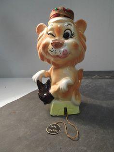Vintage Figural Porcelain Lion Tape Measure, Scissor Holder, Pin Cushion