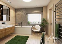 Koupelna v přírodních barvách design interiéru nápydy inspirace vizualizace návrhy Corner Bathtub, Alcove, Studios, Colours, Bathroom, Washroom, Full Bath, Bath, Bathrooms