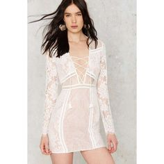 The Jetset Diaries Carribean Lace Dress ($57) ❤ liked on Polyvore featuring dresses, ivory, scalloped lace dress, short lace dress, v neck lace dress, pink lace dress and pink dress