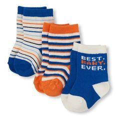 Newborn Baby Boys 'Best Baby Ever' Sock 3-Pack - Blue - The Children's Place