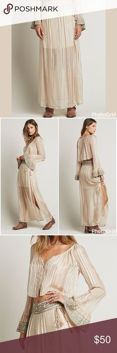 """Free People """"Ray of Light"""" Embroidered Maxi Skirt Excellent used condition. This listing is for the skirt ONLY. Details include embroidered waistline, decorative tassel ties at waist, light weight sheer fabric, attached half slip, dual side slits, and maxi length. This skirt is STUNNING! Pics #1-3 = stock photos. Pic #4 = actual item. It's currently in safe storage, so it may take me up to 1 week to ship. Please shop accordingly. ~*~PRICE FIRM~*~ Free People Skirts Maxi"""