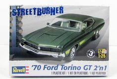 This 1970 Ford Torino car model kit is made by Revell in 1/25 scale. - Photo-etched metal detail parts - Drag racing engine and interior parts - Choice of 2 dif