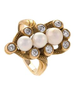 Marcus & Co Art Nouveau Diamond and Pearl Ring, An American Art Nouveau 14 karat gold ring with diamonds and natural freshwater pearls. The ring has a 8 old European-cut diamonds with an approximate total weight of .80 carats, 3 natural freshwater pearls measuring 5.1 mm, 5.2 mm, 6.2 mm. Circa 1900.