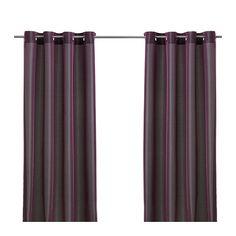 IKEA - PÄRLBUSKE, Gordijnen, 1 paar, , De gordijnen hebben een elegante glans omdat er twee kleuren in de stof zijn geweven.De gordijnen zorgen dat er minder daglicht binnenkomt en zorgen voor privacy omdat je van buitenaf niet naar binnen kan kijken.Door de oogjes aan de bovenkant kan je de gordijnen direct aan een gordijnroede hangen.