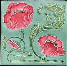 German Jugendstil/Art Nouveau Tile - Meissen