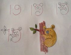 Learn to draw the children. The greatest drawings that start with numbers! - Page 2 of 10 - DIY craft ideas Doodle Drawings, Cartoon Drawings, Animal Drawings, Easy Drawings, Drawing Animals, Drawing Lessons, Art Lessons, Number Drawing, Number Art