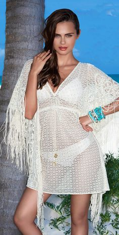 87757f9d54 Luli Fama 2014 Flirty Fringe Liquid Sand Caftan Dress L397983-15L Beach  Dresses