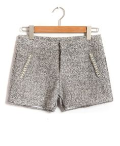 woolen shorts with pearl embellishment $30