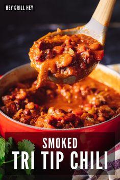 Bbq Recipes Sides, Barbecue Recipes, Chili Recipes, Grilling Recipes, Steak Recipes, Tri Tip Chili Recipe, Smoked Tri Tip, Beef Tri Tip, Leftovers Recipes
