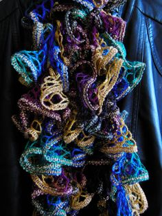 Crocheted Jewel Tone Ruffle Scarf by MannaberryOriginals on Etsy, $12.00