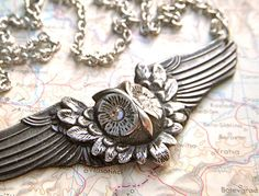 Gothic Owl Necklace Rustic Victorian Steampunk With Swarovski Crystal Eyes Silver & Pewter Metals. $45.00, via Etsy.
