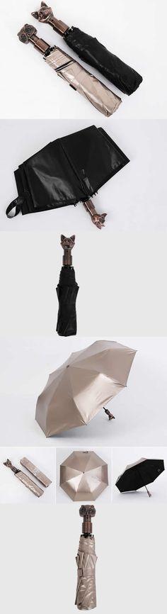 Cat&Fox Head Handle UV Protection Windproof Sun & Rain Folding Umbrella