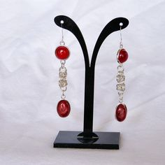 Carnelian earrings with byzantine chain maille