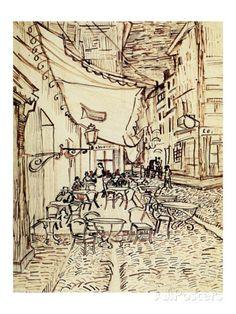 Vincent van Gogh: The Drawings (The Cafe Terrace on the Place du Forum, Arles, at Night) 1888 Vincent Van Gogh, Van Gogh Drawings, Van Gogh Paintings, Ink Drawings, Art Van, Pablo Picasso, Van Gogh Zeichnungen, Desenhos Van Gogh, Art Fauvisme