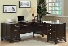 The Home Office Executive L-Shaped Desk from Garson Collection by Coaster is finished in rich cappuccino tone. The desk includes a left pedestal desk and right pedestal return. It offers file and storage drawers adorned with brushed nickel drawer pulls. L Shaped Office Desk, L Shaped Desk, Home Office Desks, Home Office Furniture, Furniture Ideas, Online Furniture, Office Spaces, Furniture Outlet, Living Furniture