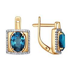 Золотые серьги с топазом london blue в квадратной окантовке из фианитов