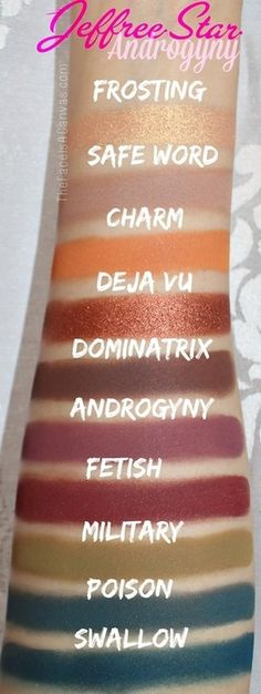 Jeffree Star Androgyny eyeshadow palette ( eye shadow makeup swatch swatches review)