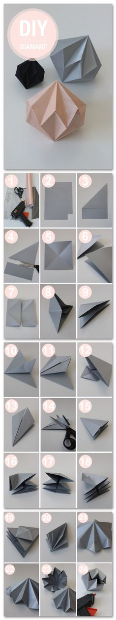 Best Origami Tutorials - Diamant - Easy DIY Origami Tutorial Projects for With I. - oragami - Best Origami Tutorials – Diamant – Easy DIY Origami Tutorial Projects for With Instructions for - Diy Origami, Useful Origami, Origami Paper, Diy Paper, Paper Crafts, Origami Lamp, Origami Stars, Origami Boxes, Dollar Origami