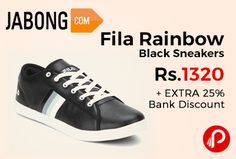 Jabong is offering Fila Rainbow Black #Sneakers Just at Rs.1320 + EXTRA 25% Bank  Discount. AXIS, HDFC, SBI, ICICI providing 25% off using cards.