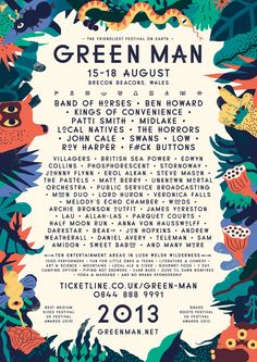 Not only are we excited about this year's Green Man festival, but we're also bonkers about the poster designed by Sarah Mazzetti and the work she's done on for the festival website Poster Festival, Festival Flyer, Festival Tops, Festival Style, Festival Party, Poster Layout, Design Poster, Poster Ideas, Green Man