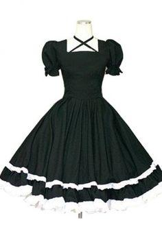 2014 Women Black And White Cotton Cross-blet Short Sleeve Classic Lolita Dress Online, ocrun.com