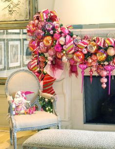 Suzy q, better decorating bible, blog, holiday, Christmas, décor, ideas, inspiration, mantel, garland, banister, fireplace, bows, ornaments, living room, tee, pink, green, gold, sparkly, ornaments, red bows