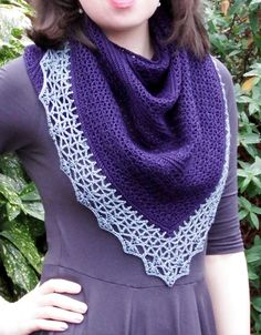 Atlantic lace shawl with beaded crochet border- free pattern. From Make My Day Creative.