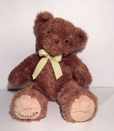 Carters Teddy Bear Big Brown Plush Yellow Bow Ribbon Large Lovey Stuffed Animal #Carters #AllOccasion
