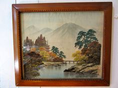 Asian Painting on Silk - Landscape - Pagoda - Mountains - Primitive Wood Frame - 30s Adirondack Frame - Notched Frame by stateandmainvintage on Etsy