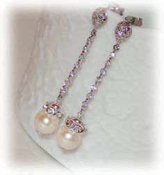 Crystal Wedding Earrings Pearl Bridal Earrings by livelovebead, $38.00