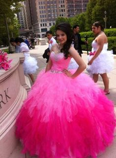 Pink and rose vestidos de Quinceanera Dresses With Crystal Hand-Beaded Sweetheart Neck Sleeveless Ball Gowns vestidos de 15 anos