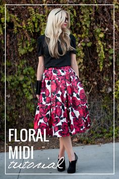 Floral midi skirt tutorial.