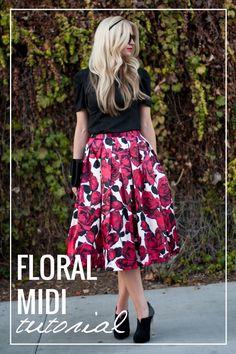Floral midi skirt tutorial.