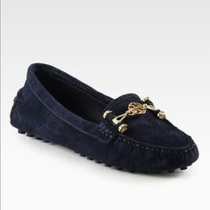 Tory Burch Daria Driver Suede Loafers SS6-This is the most comfortable shoes by Tory Burch. Suede upper. Moccasin toe. Driving sole. Gold tone hardware logo across vamp. Flexible, comfortable design. NWOT Tory Burch Shoes Flats & Loafers