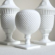 SALE-- Westmoreland Milk Glass Ivy Ball Vase. $22,00, via Etsy.