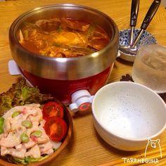 簡単美味しい、お鍋最高(*´罒`*)♡ - 133件のもぐもぐ - スンドゥブ・チゲ、蓮根の梅マヨサラダ by TAREMEGUMA