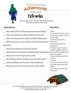 Torah Portion Quiz: Pekudei (Exodus) | FREE Parashat download. Bible Study For Kids, Bible Lessons For Kids, Bible Questions For Kids, Devotions For Kids, Bible Quiz, Bible Activities, Bible Teachings, Bible Prayers, Sunday School Lessons