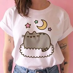Mom Outfits, Anime Outfits, Cute Casual Outfits, Casual Shirts, Chic Outfits, Fabric Paint Shirt, Aesthetic Shirts, Harajuku, Cartoons