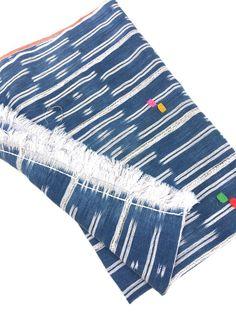 Mud cloth, Vintage Baule Ikat Strip Cloth, Indigo Blue, and Soft White by MorrisseyFabric on Etsy