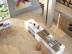 Our series looks fantastic in any room. Mix different tile sizes and create a stylish and minimal kitchen. Minimal Kitchen, Atrium, Tile Floor, Minimalism, Patio, Room, Kitchens, Stylish, Create