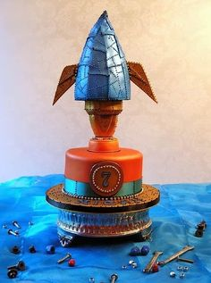 "Steampunk Rocket ship birthday cake via ""Sunday Sweets"" Cake Wrecks - Home - Sunday Sweets... In... SPAAAACE!"