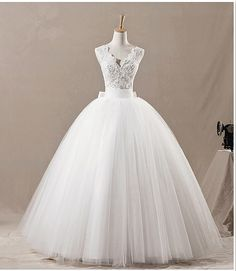Vintage V-neckline dobble straps bow back long ball gown lace tulle satin lace plus size wedding dress ET101 on Etsy, $239.00