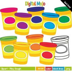 Play Dough / Play-Doh ClipartThis clipart label set has been developed at 300 DPI (which means it prints clearly and detailed) and is in PNG format.  They are great for cover pages of TPT seller products as well as borders for the filled pagesWhat you get:-9 cans of play-doh in the following colors: blue, light blue, green, light green, orange, pink, purple, red and yellow-9 balls of play-doh in the following colors: -       Black lines of each**Added bonus not showing in the preview.