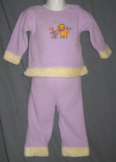 Winnie the Pooh and Piglet 2T Purple 2-Piece Outfit Disney CCA
